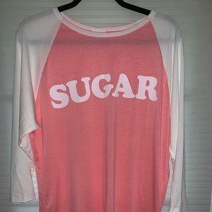 Lularoe xl randy shirt pink and white NWT